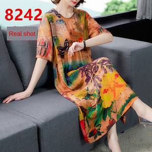 Summer new printed silk-like women's overknee dress Silk dress medium and long style crepe de Chine skirt large skirt