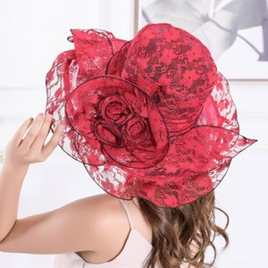 Women's foldable large edge sun lace lace flower sun hat outdoor holiday sunscreen leisure beach hat