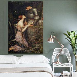 Lamia eo soldado óleo clássica Pintura Impressionismo Canvas Poster Prints giclée Wall Art Pictures para Sala Decoração