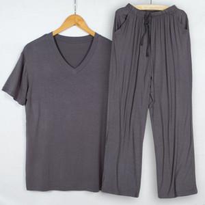 Summer pajamas men modal thin pijama hombre V-neck short-sleeved tshirt trousers sleep two piece set loungewear plus size T200709