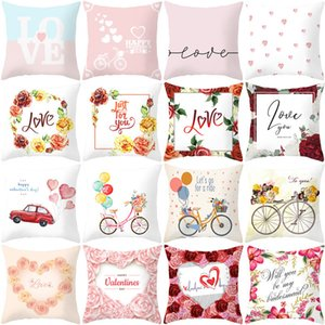 Happy Valentines Day Pillow Cases Heart Love Print Throw Pillow Case Valentine Day Home Decoration Pillowcase