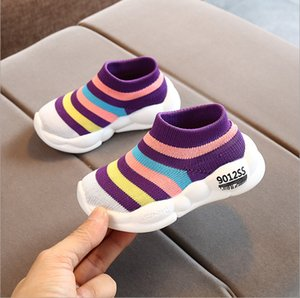 20 spring new Korean children's socks shoes boys and girls flying woven breathable mesh sports shoes high-top stretch shoes T200709