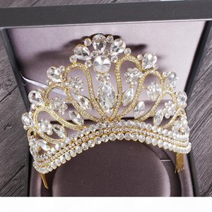 New Silver Gold Color Wedding Queen Crown Luxury Crystal Big Tiara Crowns With Comb Bride Wedding Bridal Headdress Hg-213 C19022201