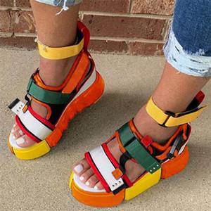 LITTHING 2020 Платформа Сандалии Женщины Высокие каблуки обувь Hookloop Холст Лето Zapatos Mujer сандалии Плюс Размер