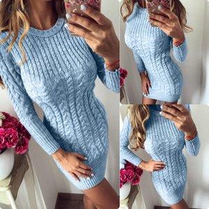 New 2020 Autumn Winter Warm Sweater Dress Women Sexy Bodycon Dress Female O Neck Long Sleeve Knitted Dress Vestidos Designer Clothes