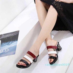2020 spring summer autumn whitening thinning women block heel sandals hollow retro  designer shoes leather fashion classic c19