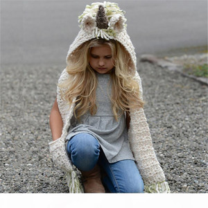 P Lovely Unicorn Baby Knitted Hats With Scarf Set Winter Windproof Kids Boys Girls Warm Shapka Caps For Children Scarf Beanies Caps