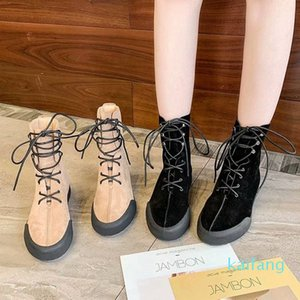 Hot Sale-Winter new fashion women's boots superstar high quality black brown lace sports boots Roman walking motorcycle boots designer