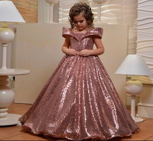 Luxury Rose Gold Sequins Girls Dresses Ball Gown Lace Up Back Little Princess Birthday Party Dress Custom Made T200709