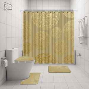 NYAA 4 قطع الذهب نسيج دش الستار الركيزة البساط غطاء غطاء المرحاض حصيرة حمام حصيرة مجموعة للديكور الحمام pqnK #