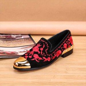 Zeguuer Marca Bordado Flor Shoes Casual florais Moda Suede Masculino Loafers Flock Lazer Calçado