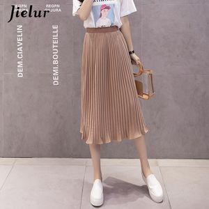 Jielur 6 Colors Korean Fashion Summer Skirt Female Chiffon High Waist Pleated Skirts Womens S-XL Harajuku Faldas Mujer T200712