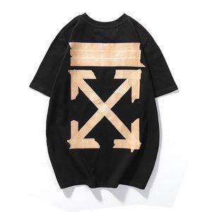 2020SS ins nova personalizados curativo braço seta geométrica listrado algodão estampado t-shirt de manga curta para casais looseNS2S52QQ