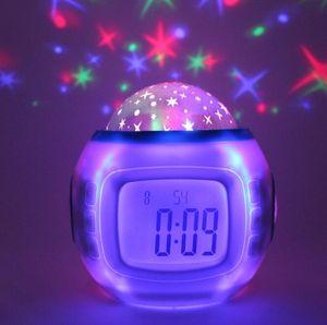 Música Céu Estrelado Projeção colorido Despertador Digital noctilucentes Mute Relógio Soneca Temporizador Desk relógios de mesa Home Décor HA1088