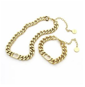 Europe America Fashion Jewelry Sets Women Lady Titanium steel 18K Plated Gold Thick Chain Necklaces Bracelets With D Letter Pendant