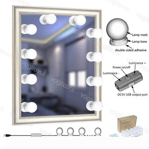 LED Wall lights Hollywood Style Kit with 10w Dimmable Light Bulb USB Powered Lighting Fixture Strip for Makeup Vanity Dressing Room EUB