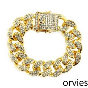 Influx domineering diamond-encrusted Cuba wide bracelet Europe and America hip-hop men's dragon beard buckle bracelet jewelry width 20mm
