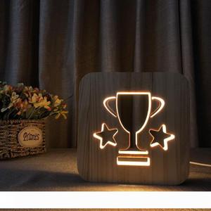 Ahşap Trophy Şekli Gece aydınlatması LED Wood Hollowed aşımı Gece Lambası Sıcak Beyaz Yatak Odası Başucu Işık Hediye 3D Nightlight
