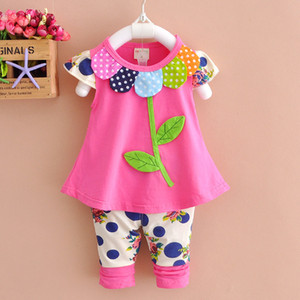 Summer Kids Girls Clothes Sets Baby Flower Short Sleeve T shirt + Pants Toddler Girls Clothing Casual Kids Outfits Baby 4 Years