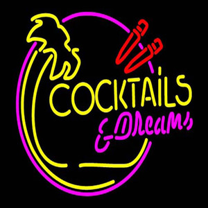 """Cocktails Dreams Neon Sign Custom Handmade Real Glass Tube Restaurant Drink Bar KTV Store Advertise Decoration Display Neon Signs 17""""X14"""""""