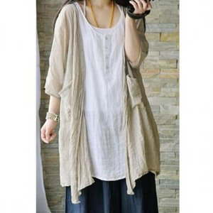 2020 Spring Summer Art Simple Loose Sunscreen Shirt Cotton Linen Batwing Sleeve Mori Girl Plus Size Women Tops Kimono Blouse Top Y200622