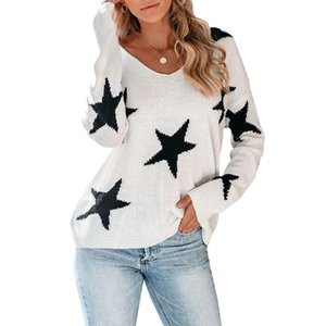 Muyogrt Stars Print Sweaters Tunic Women Casual V-neck Loose Long Sleeve Knitted Top 2020 Autumn Winter Female Jumper Pullovers