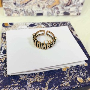 D home Dijia ja letter open female ring fashionable brass material Pearl Index finger ring ring