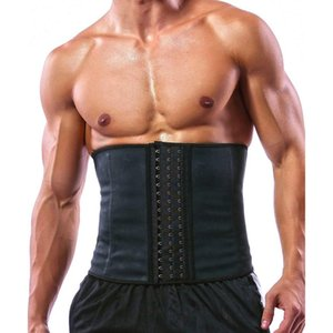 100% Latex Men Waist Trainer Corsets with Steel Bone Sweat Belt Sauna Suit for Fitness