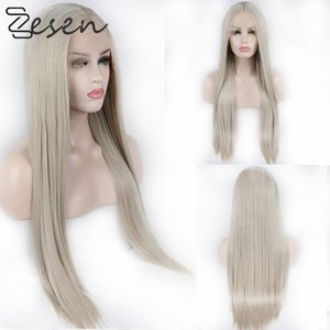 Zesen Ash Blonde Silk Straight Heat Resistant Fiber Synthetic Wig Lace Front Wigs For Women with Natural Hairline and Baby Hair