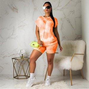 Sommer-Frauen 2-teiliges Set Fashion Tie Dye Anzug Outfits Passende Kleidung Short Sleeve Top Shorts Sweat Suits Frauen Sportwear