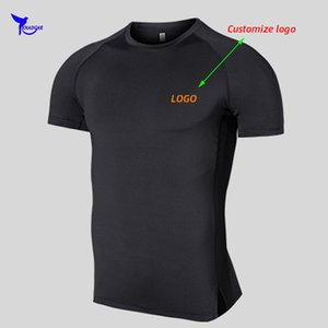 2020 Summer Men Breathable Mesh Workout T-Shirt Quick Dry Gym Fitness Sportswear Elastic Top Tee Running Shirts Customize Print