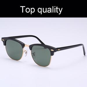 Top-Qualität 3016-51mm Verein-Sonnenbrille Männer Frauen Echtglaslinsen Azetat Rahmen Sun Glaslinsen Sonnenbrillen Oculos De Sol Ledertasche, Box