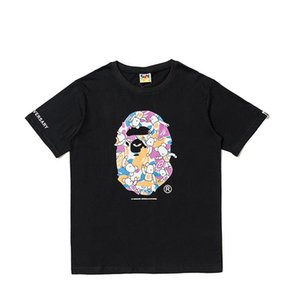 The New Tshirts Ape with Cartoon Printing Casual T-shirt A Bathing Loose Short-sleeved Aape Pullover Men Women Casual Wear Breathable Cloth