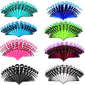50PCS Tapers Gauge oreille Stretching Kits 14G-00G oreille Plug-Expander acrylique Piercing Set silicone Élargisseur Reamer Bijoux du corps