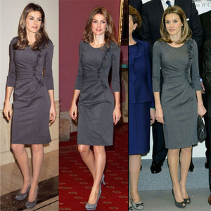 816 Ücretsiz Kargo 2020 Marka Aynı Stil Düzenli 3/4 Kol Elbise Üst Mürettebat Boyun AS