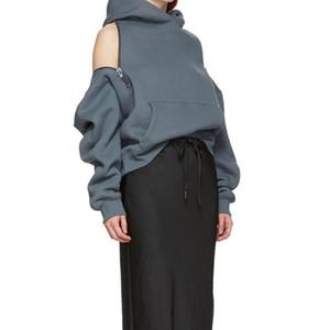 여성 따뜻한 콜드 숄더 후드 운동복 섹시한 플러스 벨벳 느슨한 후드 단색 롱 탑 S-L