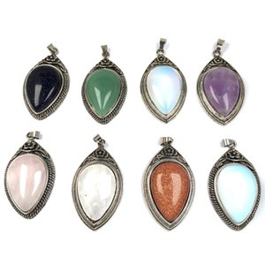 10 Pcs Silver Plated Tear Drop Green Aventurine Pendant for Gift Opalite Opal Vintage Style Jewelry