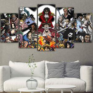 5Piece Tela Pittura One Piece Immagini Movie Poster Tableau murale Tableau Lienzos Cuadros Decorativos Drop Shipping