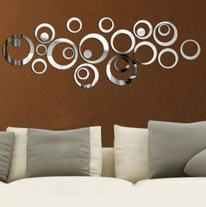 24pcs set Torus Acrylic 3D Stereo Wall Stickers Sitting Room Mirror Surface Waterproof Circle Wallpapers Home Décor Home & Garden HA1011