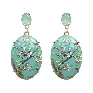 Januarysnow Women Hanging Dangle Earrings Fashion Resin Print Fashion Vintage Girls Drop Earrings For Gifts Size 6.7*3.1cm Hot Sale