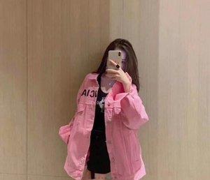 Damen Jacken Rosa Jeansjacke 20 neuer Stil bestickt Buchstaben auf der Brust Mädchen Jacke