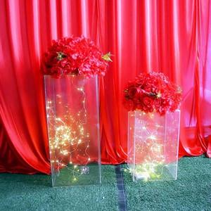 الكريستال الاكريليك عمود مربع الزهور في حفل زفاف عمود أسلوب الزخرفة زهرة الديكور مهرجان قناة الممر الزفاف موقف الطريق موقف