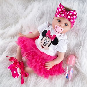 New Pattern Girl Toys 55cm Soft Silicone Reborn Dolls Surprises Baby Realistic Doll Reborn Vinyl Boneca Reborn Doll For Girls T200712