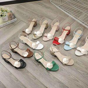 Diseñador mediados de del talón 100% cuero de zapatos de mujer de tacón áspera moda de lujo hebilla de metal sandalias de las mujeres atractivas de los zapatos de playa de tamaño grande 34-42
