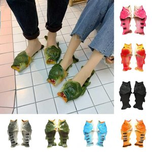 Creative Fish Shower Slippers Funny Beach Shoes Sandals Bling Flip Flops Summer Fish Shaped Casual Shoes 7 Styles 2pcs pair OOA3376