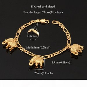New Item Cute Charms Bracelet Bangles 18K Real Gold Plated Lovely Elephants Charms Fashion Jewelry For Women YH5167