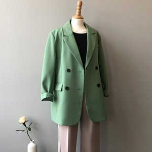 Allentato coreano Casual Blazer Coat Donne Relaxed rivestimento del vestito solido Tailored elegante cappotto Workwear Blazers Tops Primavera Autunno 2020