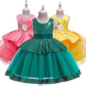 Girls Dress Kids Dresses For Girls Clothing Wedding Gown Sequin Flower Elegant Party Princess Dress Children Vestidos T200709