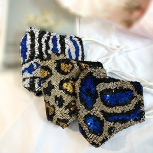 Art und Weise Bling Bling Leopard Pailletten Gesichtsmaske Staubdichtes Mundmasken Designer Waschbar Wiederverwendbare Frauen Gesichtsmaske Qualitäts-Masken