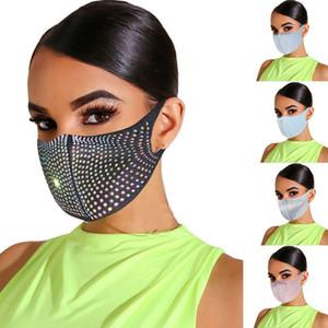 US Stock Bling Bling Bling Strass Designer viso Maschere Donne Maschere protettive antipolvere Lavabile Reusabile FaceMask Fashion Party Buthes Mask